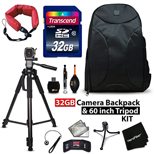 32GB Accessory Kit for Canon EOS 80D, 70D, EOS Rebel T6, T6i, T6S, T5i, T5, T4i, T3i, T3, EOS 760D, 750D, 1300D, 1200D Includes 32GB High-Speed Memory Card + Camera Backpack + 72' inch Tripod + MORE by HeroFiber