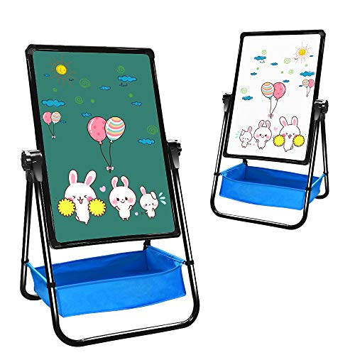 "Art Easel for Kids, Double-sided Toddler Easel, Portable U-stand Easel for Adults, Magnetic Flipchart Easel Board 18.5"" X 24.4"" with Adjustable Height ()"