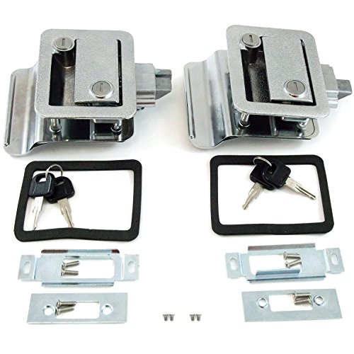 Pair (2 Pack) RV Camper Travel Trailer Locking Entrance Door Handle Latch Paddle Recreation Motorhome Entry Deadbolt Lock Kit With Key Dead Bolt