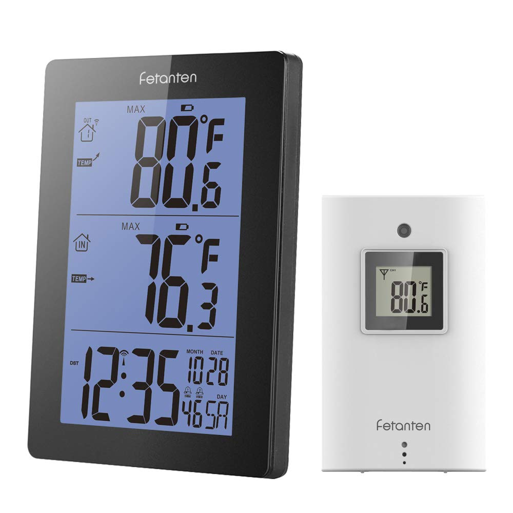 Fetantenclock Wireless Indoor Outdoor Thermometer Digital Weather Station with Outdoor Sensor Shows Temperature & Temp. Trend, Alarm, Calendar (Black)