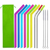 Cheap ATOZEDO Reusable Drinking Straws Set of 8 – Big Silicone Smoothie Straws Plus Stainless Steel Metal Straws with Silicone Tips Perfect for 30 oz Tumblers RTIC/Yeti – Storage Pouch and Brushes Included