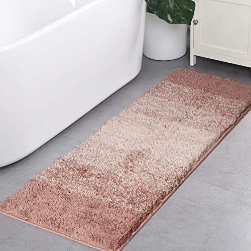 Runner Bath (Shaggy Bathroom Rugs Runner,HAOCOO Bath Floor Shower Mat Non-Slip Water Absorbent Machine-Washable Soft Microfiber Plush Bath Rug Gradient Color Carpet for Doormats Tub (18x47 inch, Light Brown))