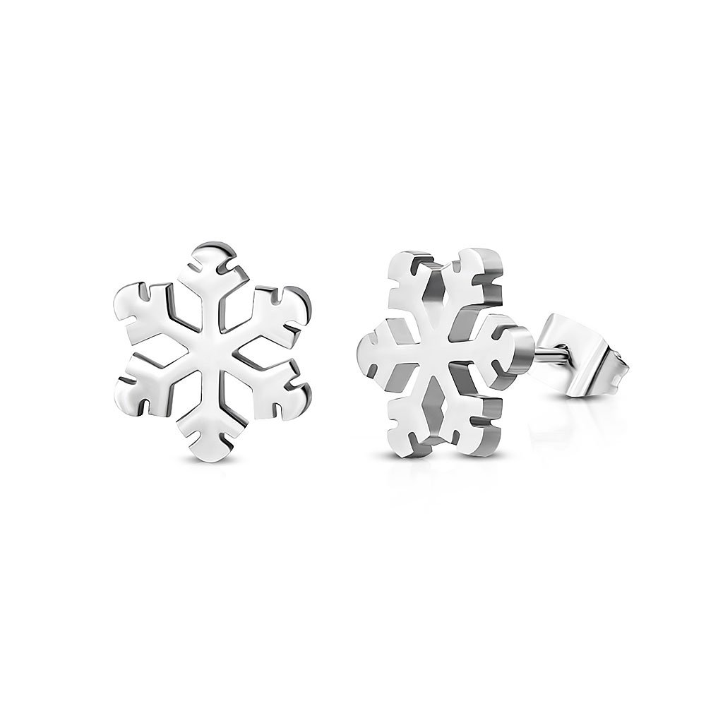 Pure 316 - Surgical Stainless Steel 316L Snowflake Flower Stud Earrings Leviev Ltd. JK-JES173