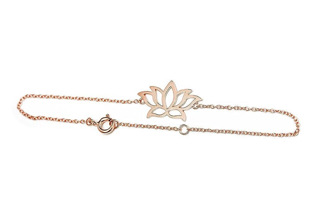 Amazoncom Apop Nyc Rose Goldtone 925 Silver Lotus Flower Bracelet