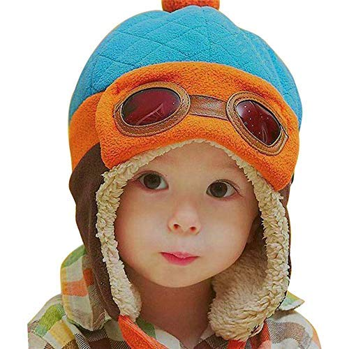 Crochet Earflap Pilot Hats Rabbit Ears Beanie Cap Winter Warm Knit Caps for Toddlers Baby Girls and Boys (Blue)