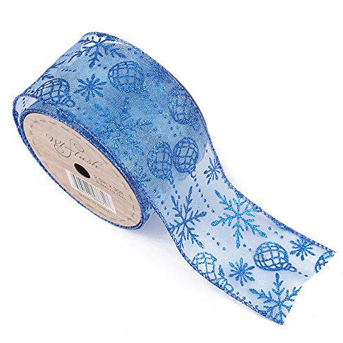 2-1/2-Inch Wide by 10 Yard Spool Wired Edge Craft Ribbon (688 Christmas Ball Diamond Blue)