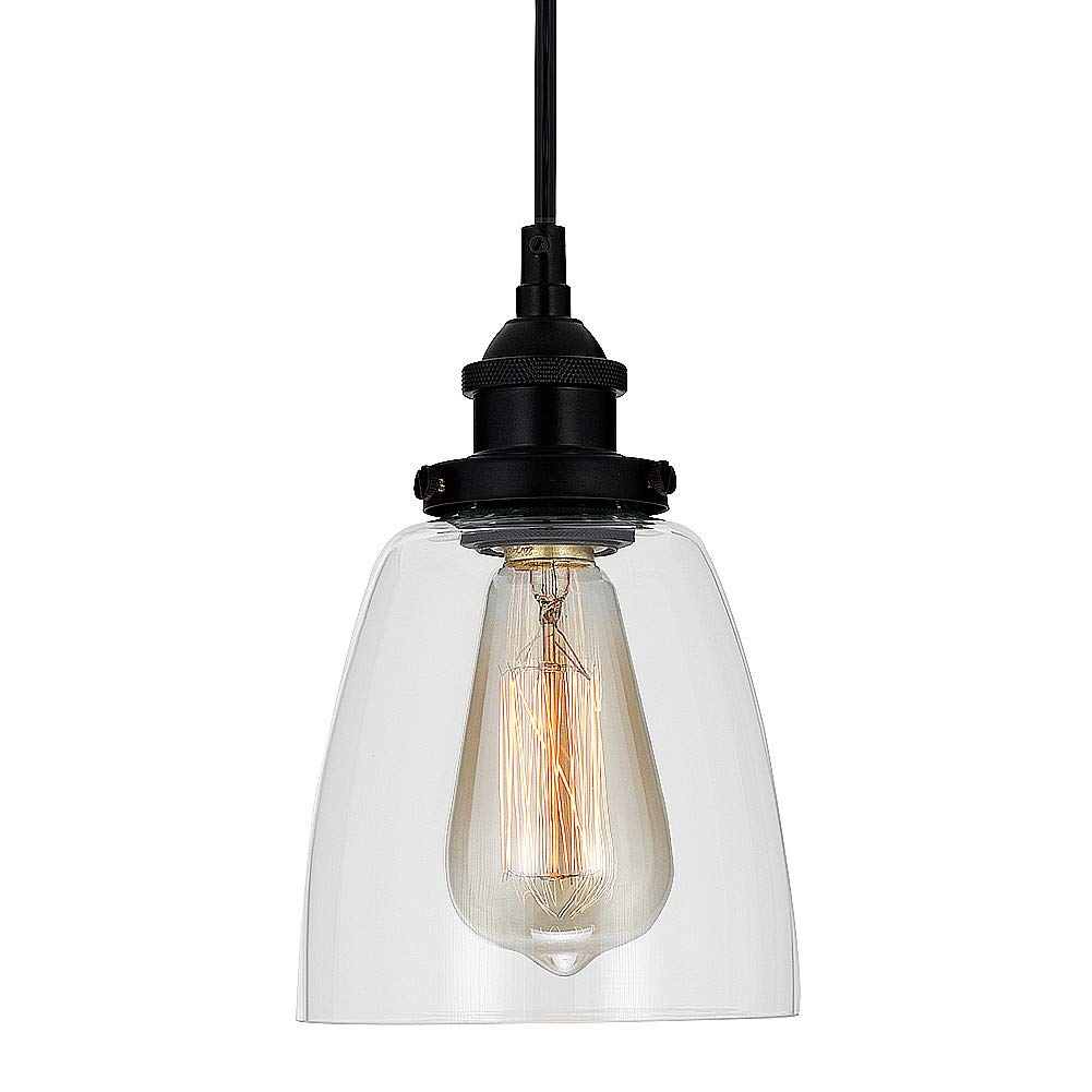 Industrial Clear Glass Pendant Lighting with Oil-Rubbed Bronze Finish,Adjustable Hanging Light Fixture for Kitchen,Island Bar,Farmhouse