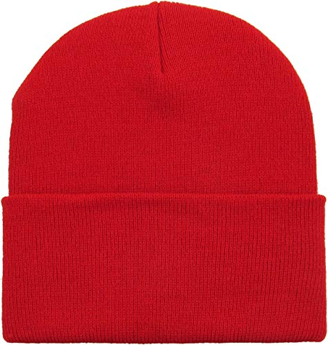 Mens Daily Cuffed Beanie Thick Warm Comfy Made in USA for USA Knit HAT Cap Womens Kids (One Size, 1.- Red)