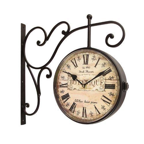 DecentHome European Two Faces Dual side Antique Vintage Circle Station Wall Side Hanging Quartz Iron Clock, Black Brown For Sale