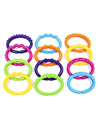 Baby Teether Rings Links Toys - Wishtime Textured a Lot links Rattle Strollers Car Seat Travel Toys Set for Baby, Infant, Newborn (Gift) BOBEBE Online Baby Store From New York to Miami and Los Angeles