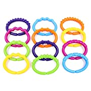 Colorful Baby Links Rings Theether Rattle Infant Strollers Car Seat Rings Toys by Wishtime
