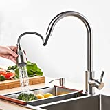 Best Commercial Lead-Free Stainless Steel Kitchen Faucet with Pull Down Sprayer,Single Handle Single Hole Pull Out Kitchen Sink Faucets with Free Hot& Cold Hose