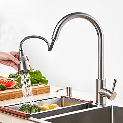 Best Commercial Lead-Free Stainless Steel Kitchen Faucet with Pull Down Sprayer ,Single Handle Single Hole Pull Out Kitchen Sink Faucets with Free Hot& Cold Hose