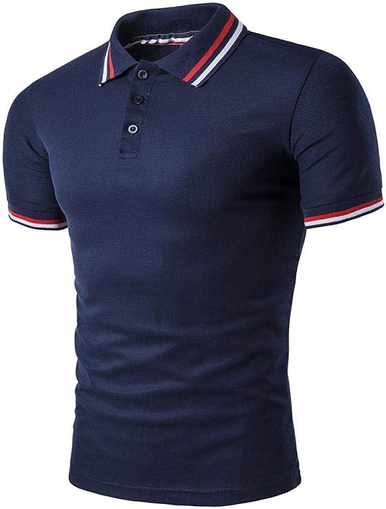 Camiseta de Hombres de Negocios Casual Camiseta Polo y Sencilla roscados Tapa del Cuello del Polo de la Manga de la Moda
