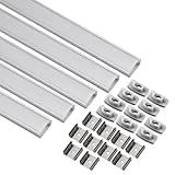 uxcell LED Aluminum Channel - 1M/3.3Ft Led Channels and Milky Covers with End Caps and Mounting Clips for LED Light Strip Mounting (CN509, 1mx17.4mmx7mm) - 5 Packs