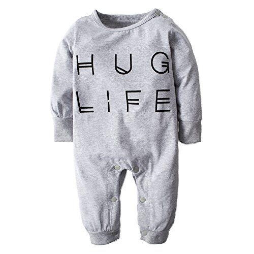 Big Elephant Baby Boys' Letter-Printed Long Sleeve Pajama Romper Sleeper H96