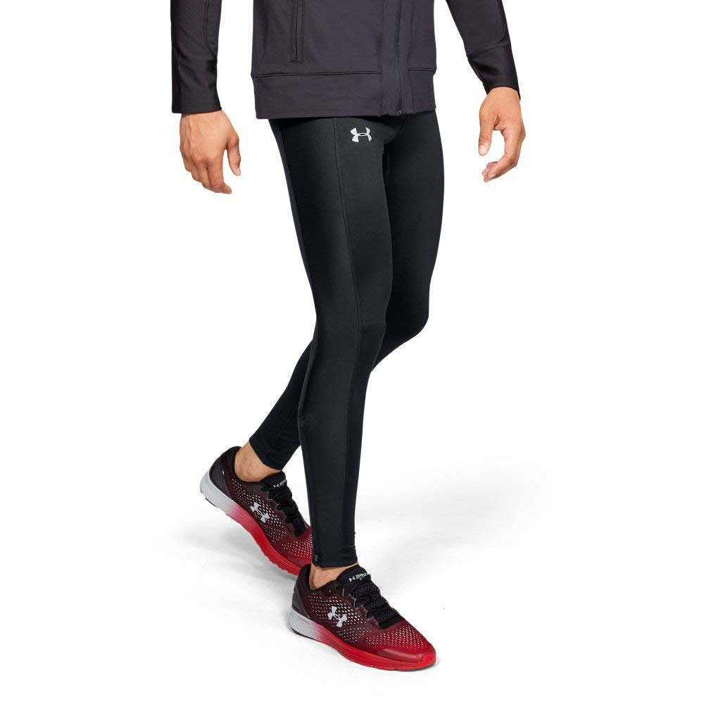 Under Armour Men's Coldgear run Tights, Black (001)/Reflective, Small by Under Armour (Image #1)