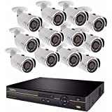 Q-See QC9616-12DX-2 | Surveillance System with 16 Channel HD Analog DVR with 2TB Hard Drive | Includes 12 4MP Security Cameras | Compatible with 4K TV | Weather Resistant | Night Vision