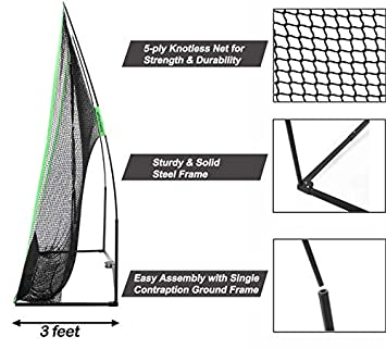 Golf Net Bundle 3pc 4pc 10x7ft Professional Golf Practice Net Chipping Target, Carry Bag, Dual-Turf Golf Mat 4pc only The Right Choice of Golf Nets for Backyard Driving Golf Hitting Nets