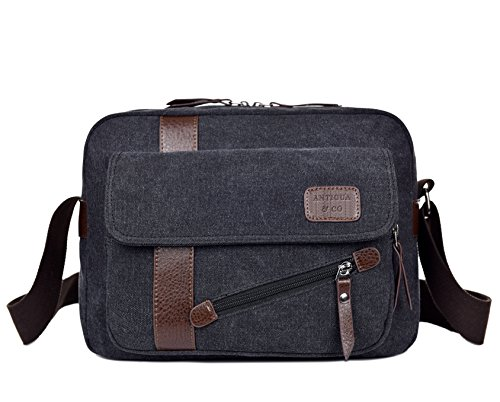 Messenger Bag Fit All Concept: your things with you. Real Canvas No Synthetic. Crossbody Messenger Bag trendy for you to Look Stunning. Lightweight. Book Bag for Men and Women by Antigua & Co.