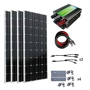 ECO-WORTHY 600W Monocrystalline 12v 24v Off Grid Battery Charging Solar Panel Kit: 4pcs 160W Mono Solar Panels + 45A Charge Controller + MC4 Solar Cables + MC4 Connectors Pair + Z Bracket Mounts