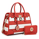 MMK Collection Medium Size Vegan Leather Two-Tone Women Satchel with Chain Shoulder Strap and FREE Matching Wallet~Popular Gift for Lady~Amazing Travel Handbag(6892W) (XL-MA-02-6892-W-RD/WT)