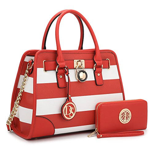 MMK collection Fashion Bamboo handle Handbag with Free wallet set for Women~Signature fashion Designer Purse~ Beautiful Designer Purse & Women Satchel Purse (2022/168) (02-6892W-RED/WHITE)