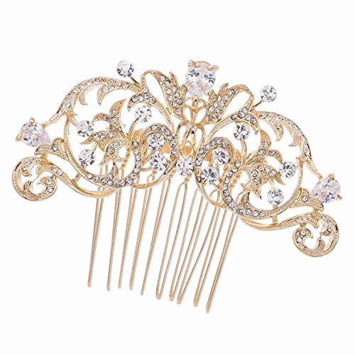 Gold CZ Rhinestone Hair Comb Pins Bridal Wedding Hair Accessories Jewelry 2253RGCL