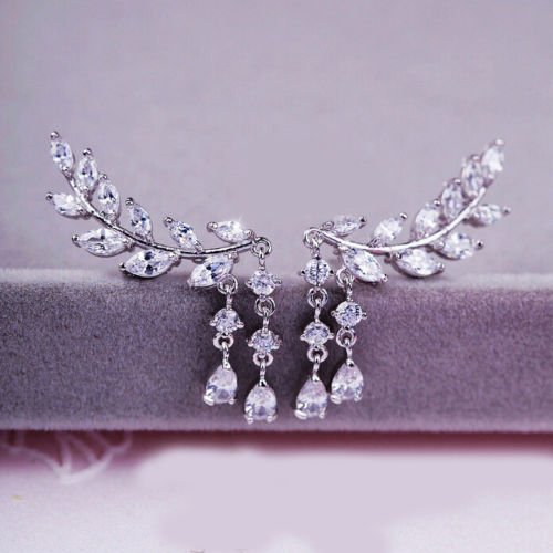 women-fashion-crystal-rhinestone-leaves-tassel-ear-stud-earrings-1pair-silver
