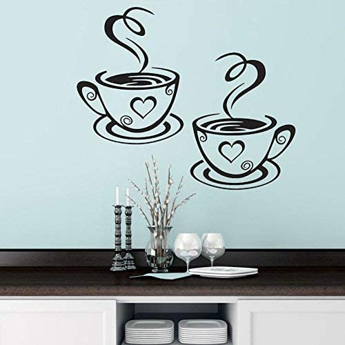 3 Tea Coffee Cups Kitchen Wall Sticker Wall Art Decor Vinyl Decal