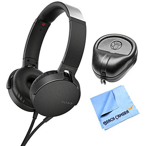 Electronics Consumer Slappa (Sony Extra Bass On-Ear Headphone Black 2017 model (MDRXB550AP/B) with Slappa HardBody PRO Full Sized Headphone Case Black & General Brand 1 Piece Micro Fiber Cloth)