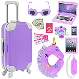 K.T. Fancy 16 pcs American Doll Accessories Suitcase Travel Luggage Play Set for 18 Inch Doll Travel Carrier, Sunglasses…