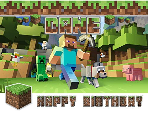 Minecraft Happy Birthday Steve Wolf Creeper Edible Cake Topper Image ABPID00577 - 1/4 sheet