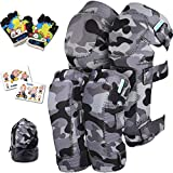 Innovative Soft Kids Knee and Elbow Pads with Bike Gloves | Toddler Protective Gear Set w/Mesh Bag | Comfortable | Skateboard for Children Boys Girls ((2nd Gen) Snow Land Camo, Small (2-4 Years))
