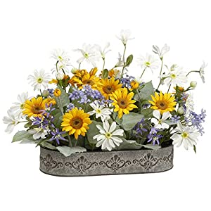 Silk Plants Direct Daisy, Sunflower and Agapanthus (Pack of 2) 91