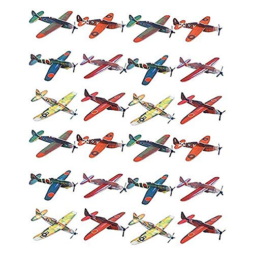 Kidsco Flying Glider Planes - Toy for Party, Kids & All Ages - Hand Launch - Easy Assembly - Styrofoam Assorted, 8 Inch (Set of 24)