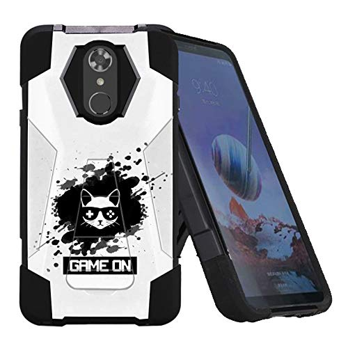 LG Stylo 4 / Stylo 4 Plus Phone Cover Case by [TalkingCase],Black Premium Double-Layer Armor Case, Ruggedized w/Kickstand,Specially for LG Stylo4,Stylo4 Plus [Game On Cat] Printed in USA ()
