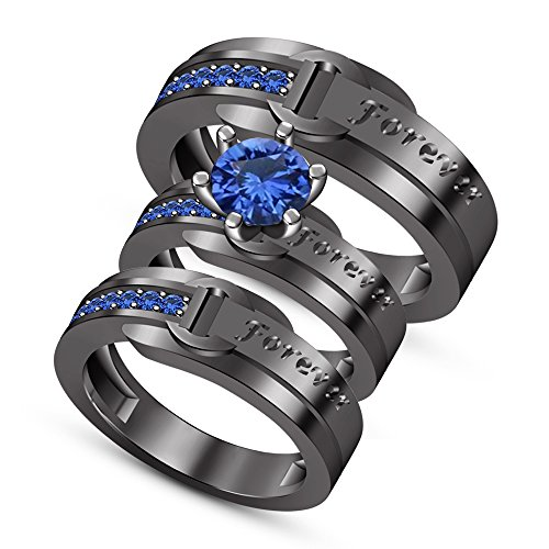 - TVS-JEWELS His & Her Wedding Band Trio Engagement Ring Set Round Cut Blue Sapphire
