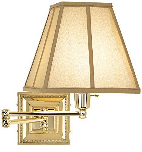 Brass Square Sconce - Tan Square-Cut Shade Brass Beaded Plug-in Swing Arm Wall Lamp