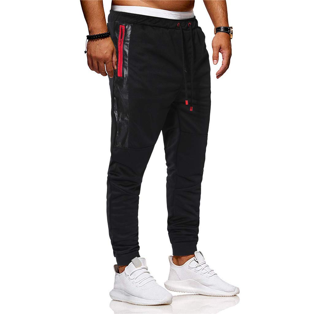 Palarn Sports Pants Casual Cargo Shorts Fashion Mens Sport Joint Lashing Patchwork Loose Sweatpants Drawstring Pant