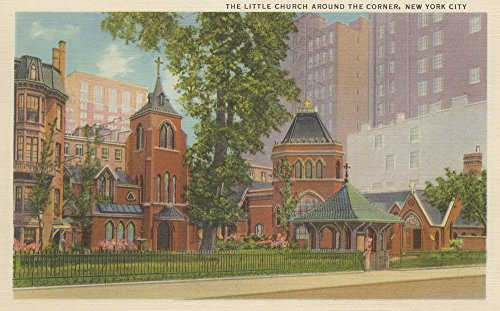 New York, NY - The Little Church Around the Corner (12x18 SIGNED Print Master Art Print w/ Certificate of Authenticity - Wall Decor Travel Poster) (Church Corner)