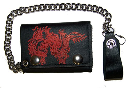 RED CHINESE DRAGON Mens Biker Leather Tri-fold Wallet with Chain