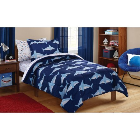 Mainstay Kids Blue Sharks 5 Piece Bed in a Bag Twin by Mainstay