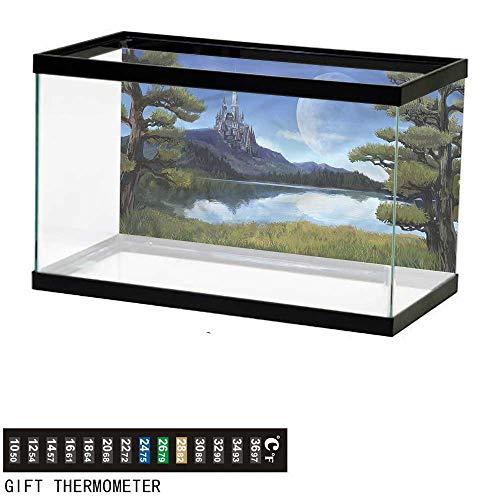 bybyhome Fish Tank Backdrop Fantasy,Riverside Lake Scene,Aquarium Background,24
