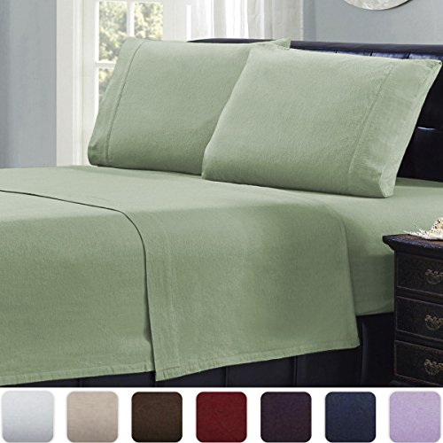 Mellanni Queen Flannel Sheet Set - 4 pc Luxury 100% Cotton - Lightweight Bed Sheets - Cozy, Soft, Warm, Breathable Bedding - Deep Pockets - All Around Elastic (Queen, Sage)