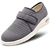 MEJORMEN Womens Breathable Mesh Walking Shoes Adjustable Slip-On Outdoor Sneakers Diabetic Recovery Slippers for Elderly (7.5 M US, Gray)