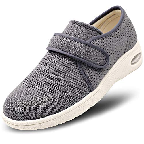 MEJORMEN Womens Breathable Mesh Walking Shoes Adjustable Slip-On Outdoor Sneakers Diabetic Recovery Slippers for Elderly Grey