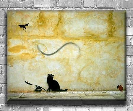 Banksy Graffiti Art Canvas Print \'Cat and Mouse\' Stunning Modern ...