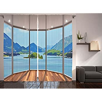 amazoncom ambesonne nature modern home decor curtains by