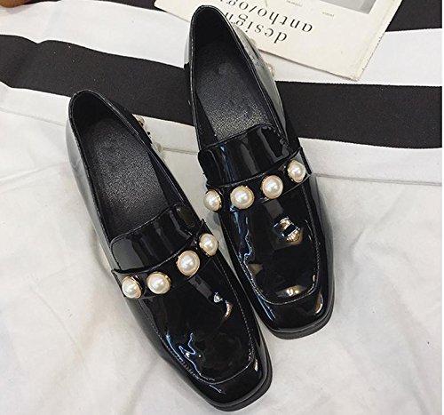 Los nuevos zapatos de la mujer de la vendimia de la perla zapatos principales cuadrados con áspera con una pequeña perla zapatos de cuero Black